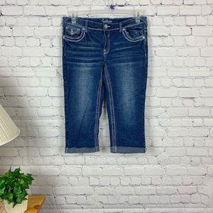 Amethyst blue jean cuffed leg peddle pushers Sz 11